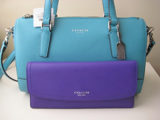 Coach Saffiano Blue Handbag and Purple Wallet