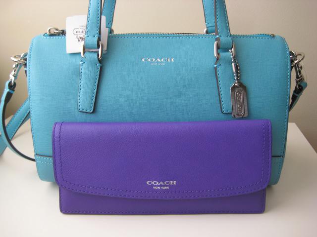 Coach Saffiano Blue Handbag and Purple Wallet