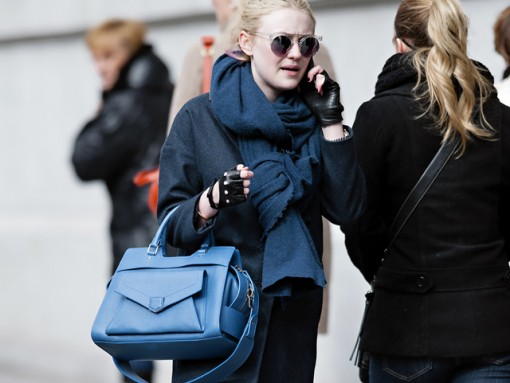 Dakota Fanning carries a blue Proenza Schouler PS13 bag in New York City (5)