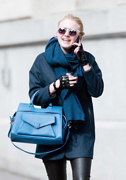 Dakota Fanning carries a blue Proenza Schouler PS13 bag in New York City (2)