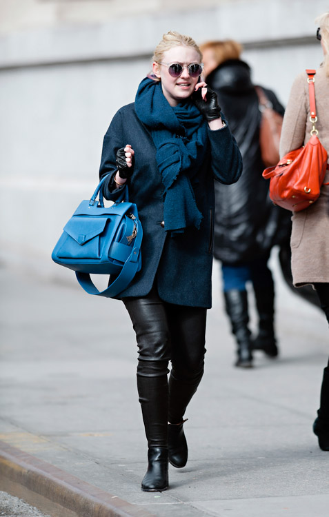 Dakota Fanning carries a blue Proenza Schouler PS13 bag in New York City (1)