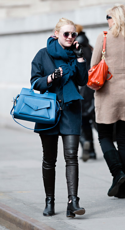 Dakota Fanning carries a blue Proenza Schouler PS13 bag in New York City (4)