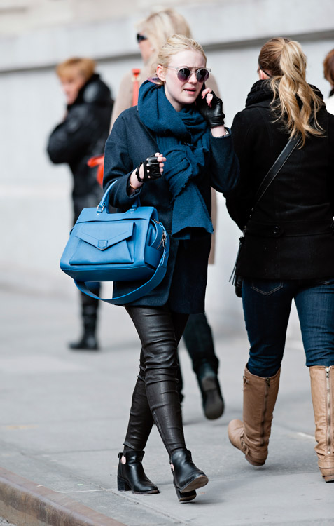 Dakota Fanning carries a blue Proenza Schouler PS13 bag in New York City (3)