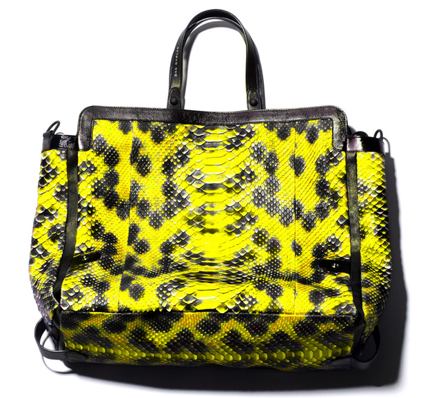 Dax Gabler Shoulder Python Tote Yellow