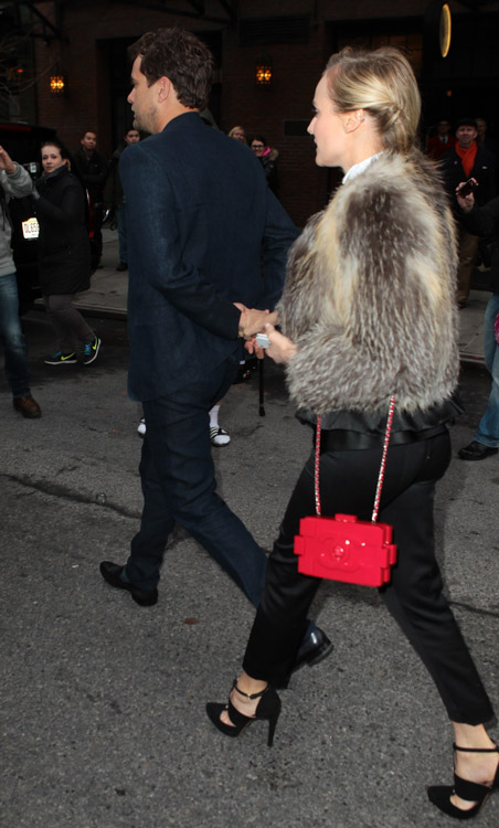 Diane Kruger carries a red Chanel Lego Clutch while leaving her NYC hotel (1)