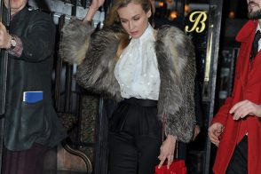 Diane Kruger carries a red Chanel Lego Clutch while leaving her NYC hotel (5)