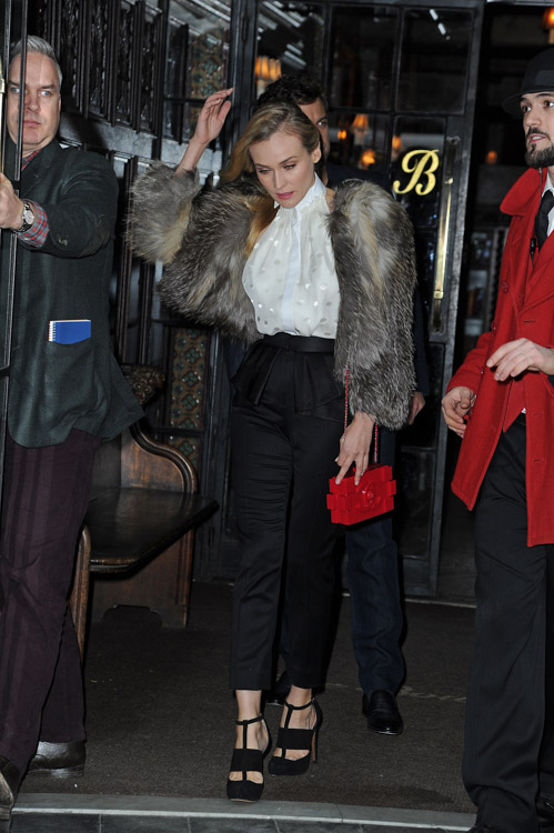 Diane Kruger carries a red Chanel Lego Clutch while leaving her NYC hotel (4)