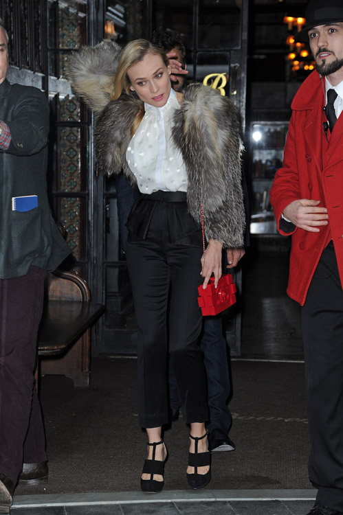 Diane Kruger carries a red Chanel Lego Clutch while leaving her NYC hotel (3)