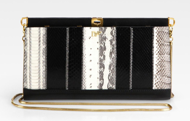 Diane von Furstenberg Olivia Patchwork Embossed Leather Clutch