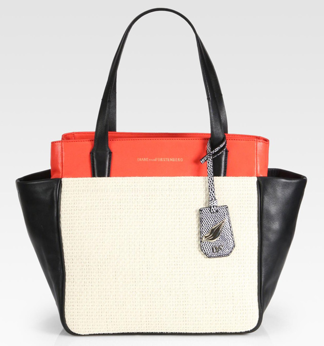 Diane von Furstenberg On-The-Go Colorblock Raffia & Leather Tote