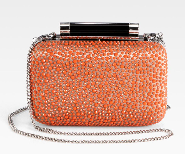Diane von Furstenberg Tonda Crystal, Satin & Leather Small Clutch