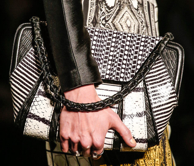 Etro Leather-Woven Chain Strap Bag