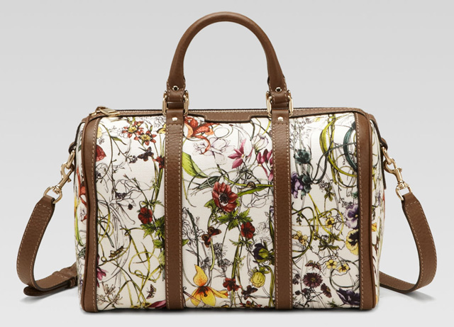 Gucci Vintage Web Floral Canvas Boston Bag