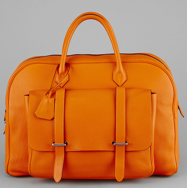 Hermes Steven Overnight Bag Orange H Togo Leather 45cm