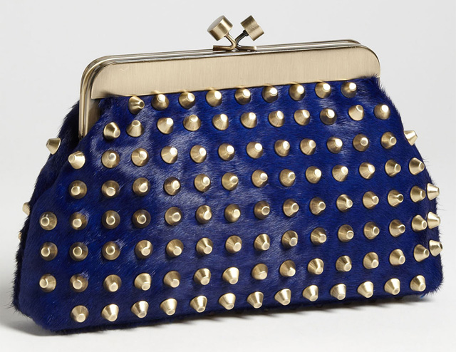 House of Harlow 1960 Tilly Haircalf Studded Clutch
