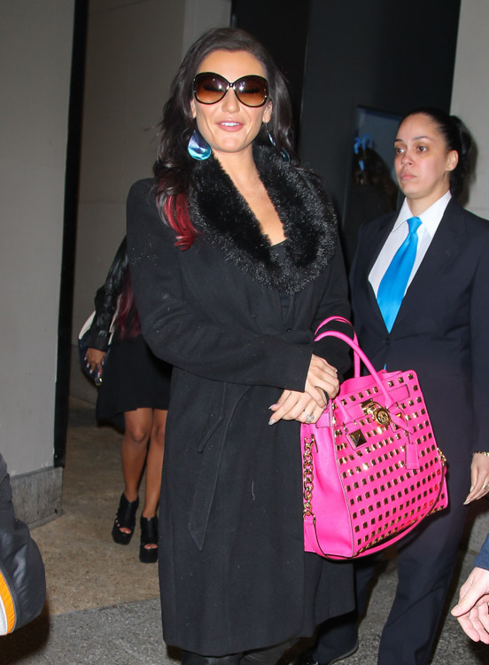J Woww carries a MICHAEL Michael Kors Hamilton Studded Tote Bag in hot pink outside VH1 studios in NYC (2)