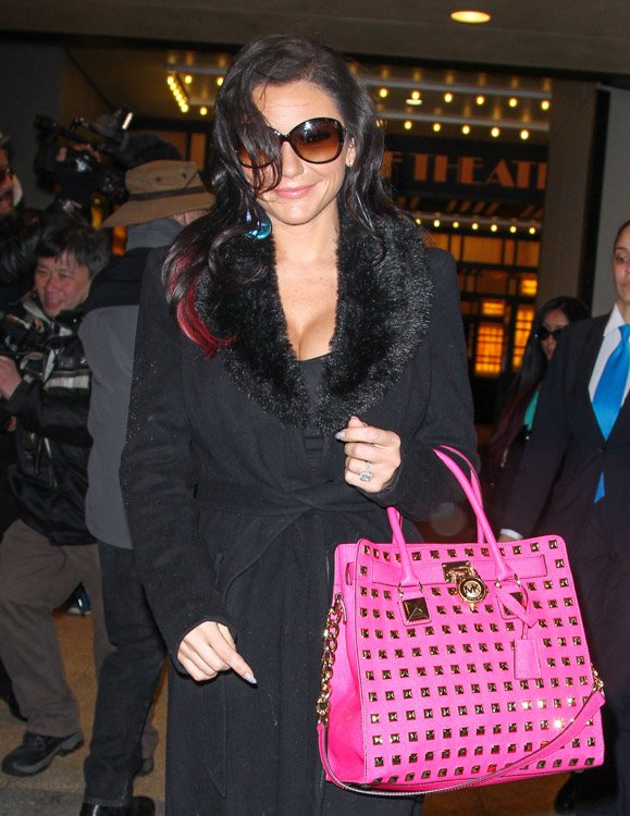 J Woww carries a MICHAEL Michael Kors Hamilton Studded Tote Bag in hot pink outside VH1 studios in NYC (1)