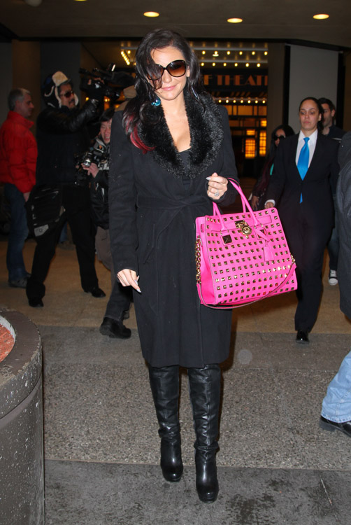 f727507c9a57 J Woww carries a MICHAEL Michael Kors Hamilton Studded Tote Bag in hot pink  outside VH1 studios in NYC (4)