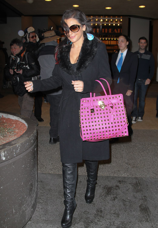 J Woww carries a MICHAEL Michael Kors Hamilton Studded Tote Bag in hot pink outside VH1 studios in NYC (3)