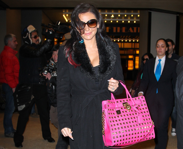 ae86ba4ae796 J Woww carries a MICHAEL Michael Kors Hamilton Studded Tote Bag in hot pink  outside VH1