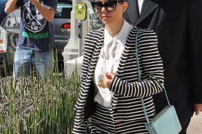 Kourtney Kardashian mixes stripes with Celine