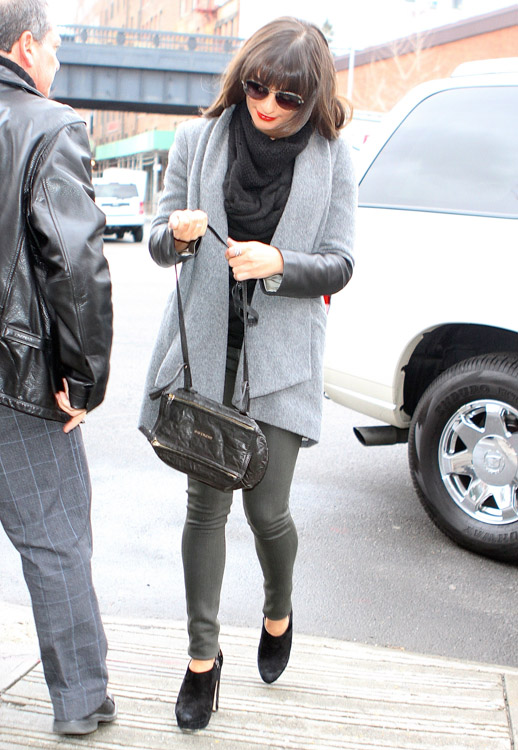 Lea Michelle carries a black Givenchy Mini Pandora Bag in NYC (1)