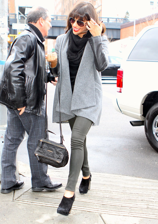 Lea Michelle carries a black Givenchy Mini Pandora Bag in NYC (3)