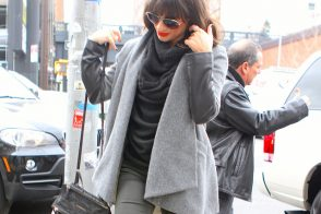 Lea Michelle carries a black Givenchy Mini Pandora Bag in NYC (5)