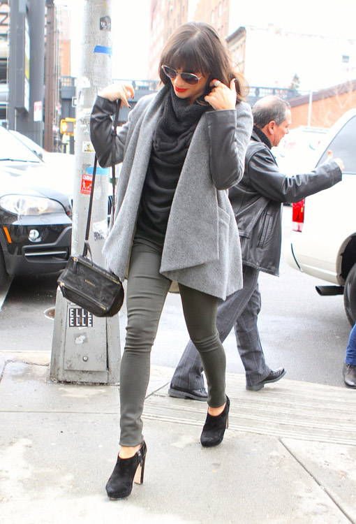 Lea Michelle carries a black Givenchy Mini Pandora Bag in NYC (4)