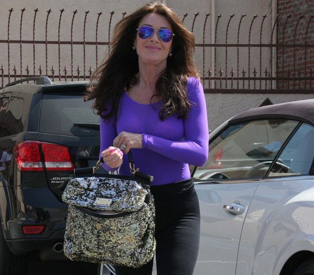 ab8adfd29d6b Lisa Vanderpump leaves Dancing with the Stars rehearsals with a Dolce   Gabbana  Miss Sicily Bag