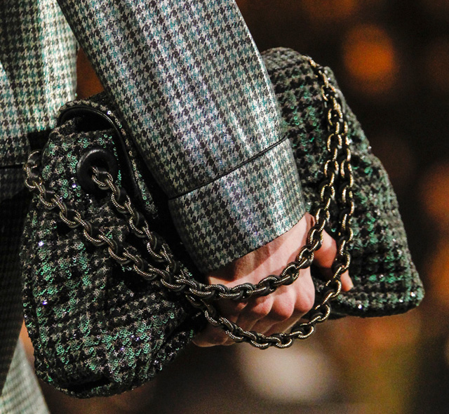 Marc Jacobs Tweed and Sequin Bag with Chain Straps