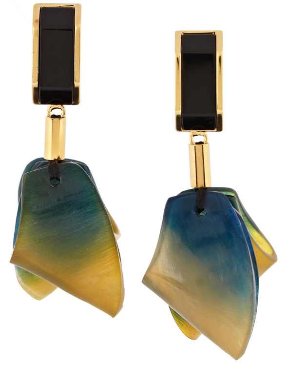 jewelry gold earrings marni resin lyst in metallic enamel and plated