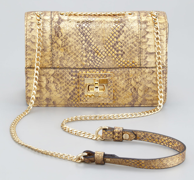 Milly Alexa Python-Embossed Shoulder Bag