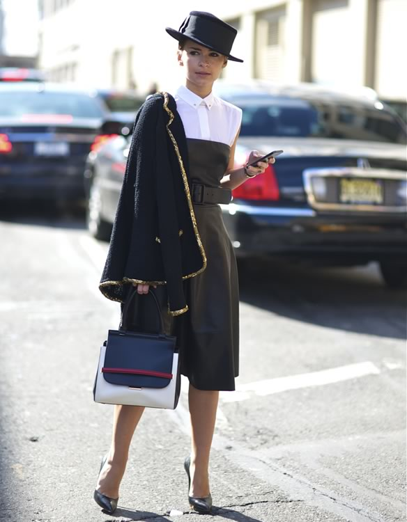 Miroslava Duma with her The Row Bag
