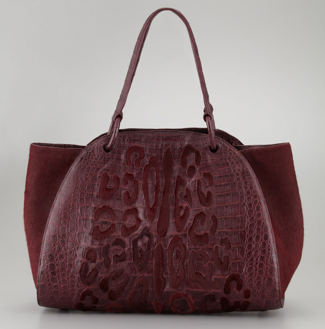 Nancy Gonzalez Calf Hair Spotted Crocodile Bag