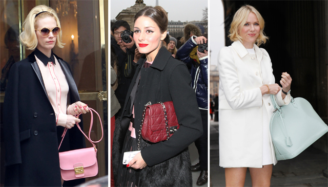Celebrities carrying designer handbags at Paris Fashion Week