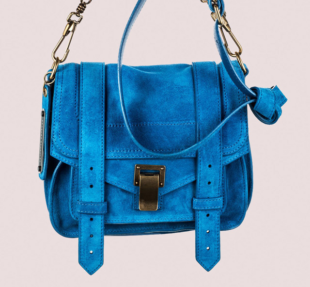 Proenza Schouler PS1 Pouch Light Peacock Blue Suede