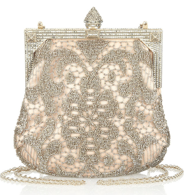 Valentino Embellished Tulle and Satin Clutch