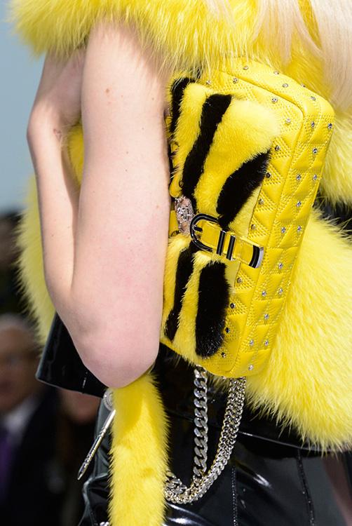 Versace Chain Strap Fur Shoulder Bag