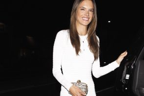 Alessandra Ambrosio carries an Alexander McQueen Union Jack Skull Clutch to her birthday party in LA (5)
