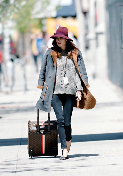 Alexa Chung wheels a Louis Vuitton Mon Monogram Pegase Suitcase around Manhattan (4)