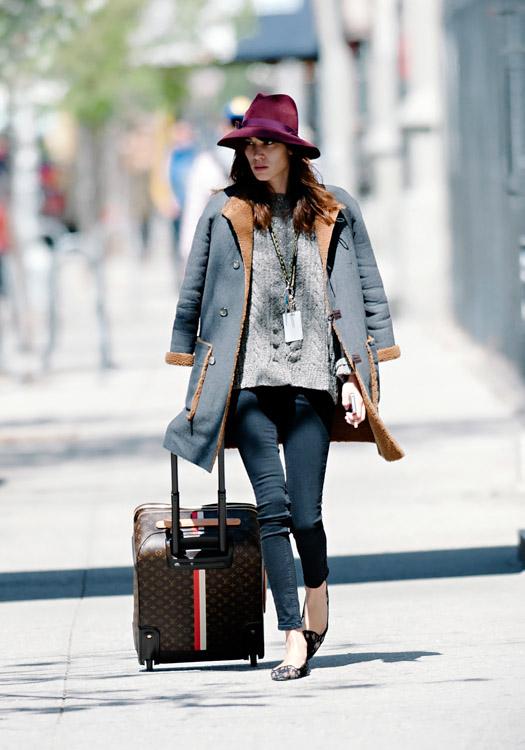 Alexa Chung wheels a Louis Vuitton Mon Monogram Pegase Suitcase around Manhattan (3)