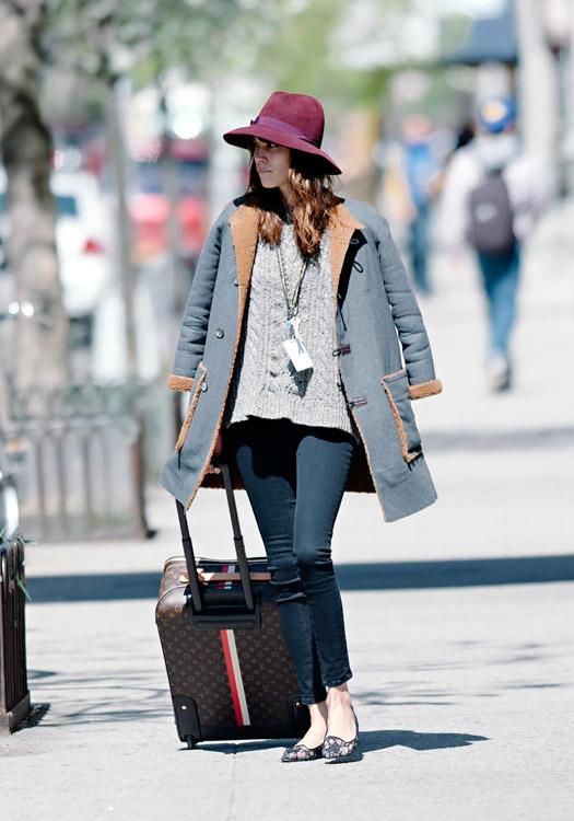 Alexa Chung wheels a Louis Vuitton Mon Monogram Pegase Suitcase around Manhattan (2)