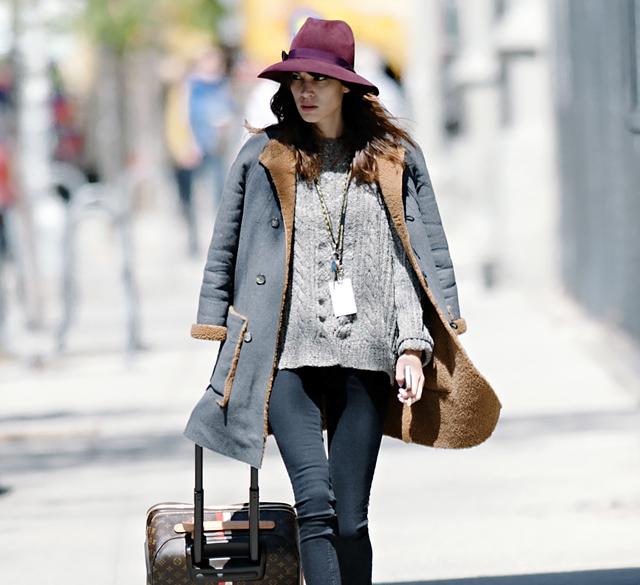 Alexa Chung wheels a Louis Vuitton Mon Monogram Pegase Suitcase around Manhattan (5)