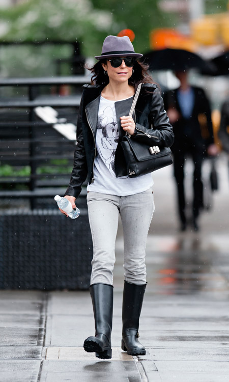 Bethenny Frankel carries a black leather Christian Louboutin Sweet Charity Shoulder Bag in NYC (3)