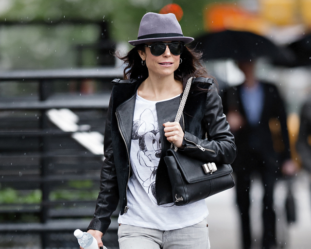 Bethenny Frankel carries a black leather Christian Louboutin Sweet Charity Shoulder Bag in NYC (5)