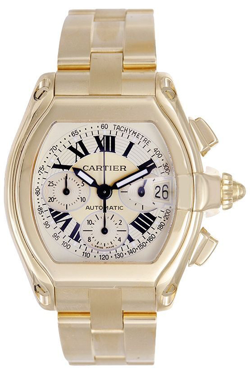 Cartier Roadster Chronograph 18k Yellow Gold Men's Automatic Watch