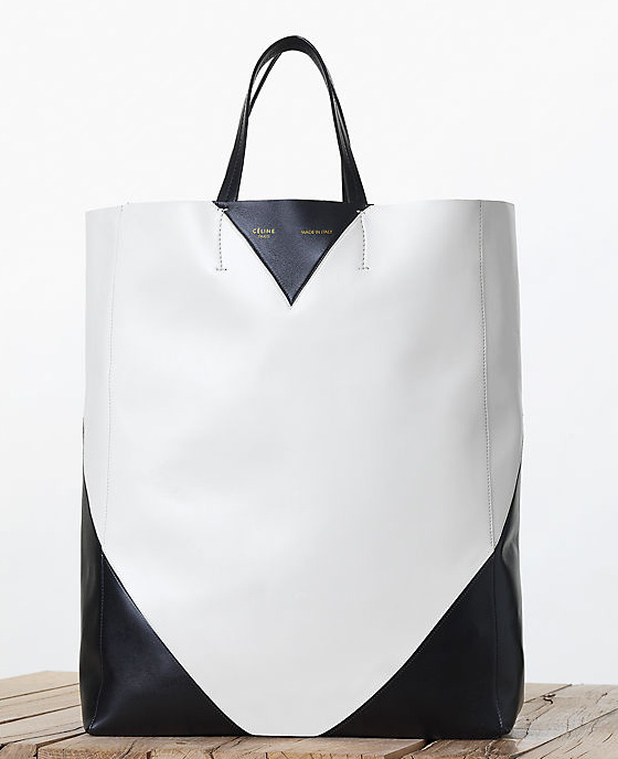 Celine Black and White Vertical Cabas Tote Fall 2013