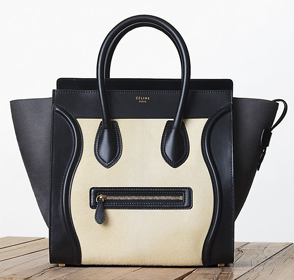 Celine Leather and Calf Hair Luggage Tote Fall 2013