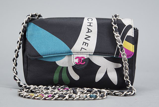 Chanel Black Satin Patterned Mini Flap Bag